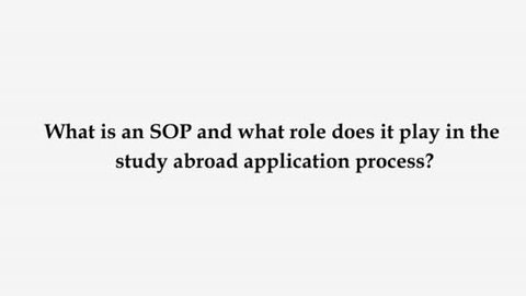 why the sop is an important part of the application process